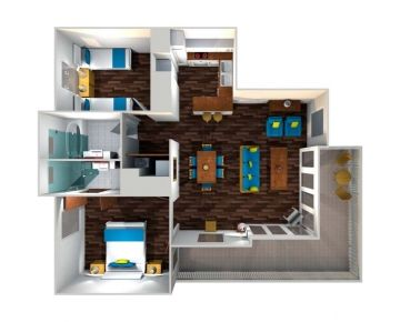 2 Bedroom Standard Apartment Layout